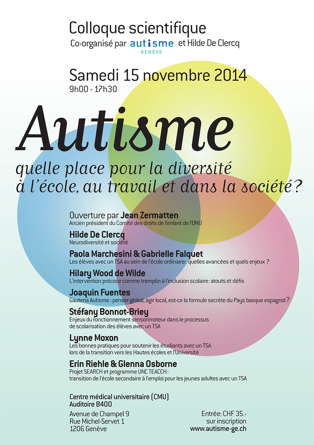 4 u00e8me colloque scientifique 15 novembre 2014  u00ab autisme